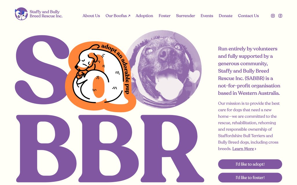 Screenshot of the website Staffy and Bully Breed Rescue