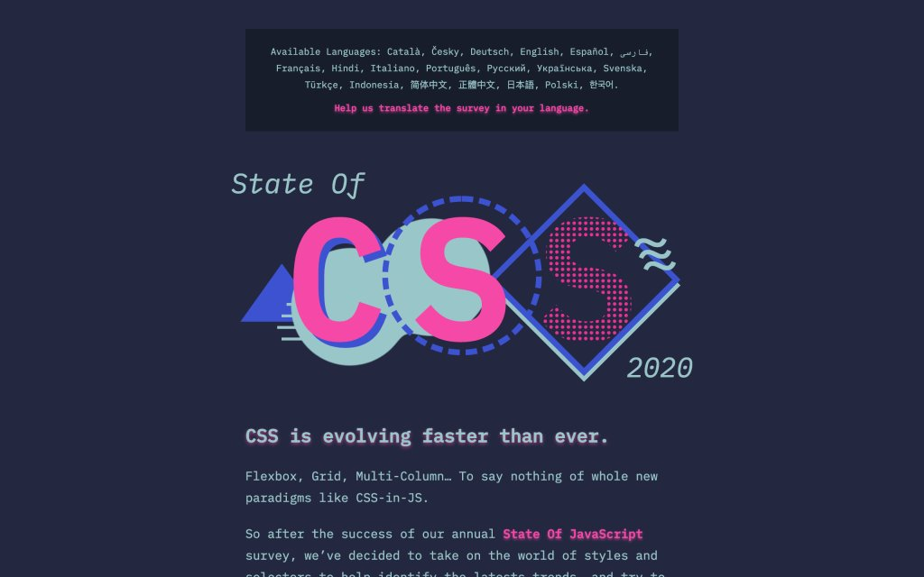 Screenshot of the website The State of CSS Survey (2020)
