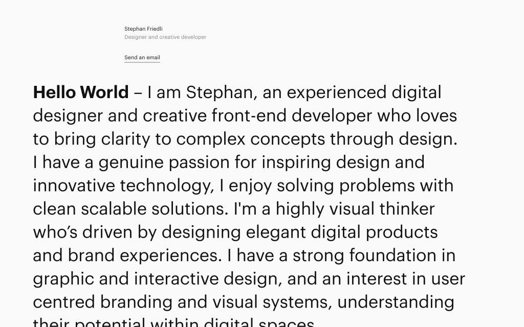 Screenshot of the website Stephan Friedli
