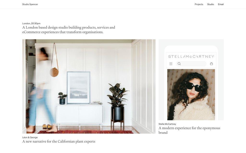 Screenshot of the website Studio Spencer