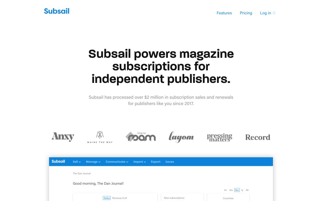 Screenshot of the website Subsail
