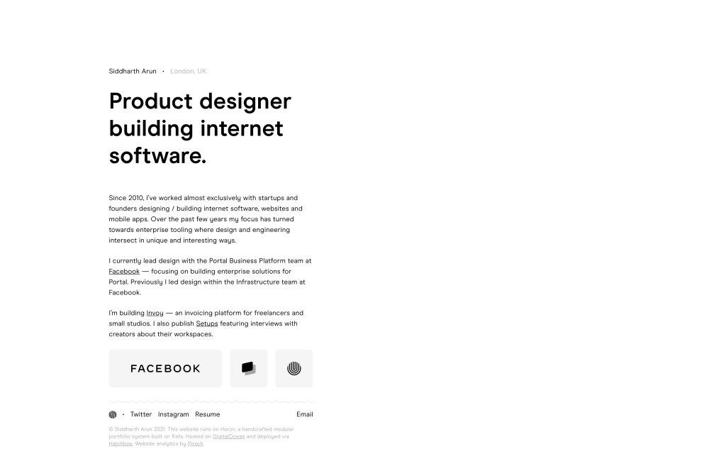 Screenshot of the website Siddharth Arun