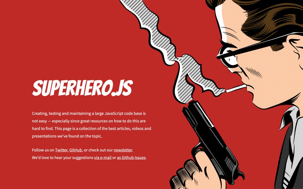 Screenshot of the website Superhero.js