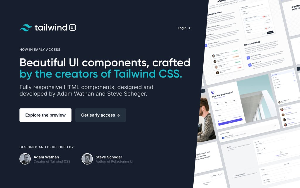Screenshot of the website Tailwind UI