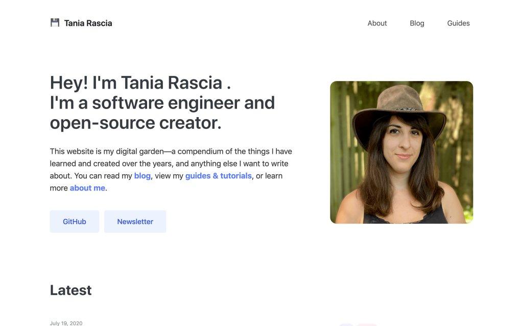 Screenshot of the website Tania Rascia