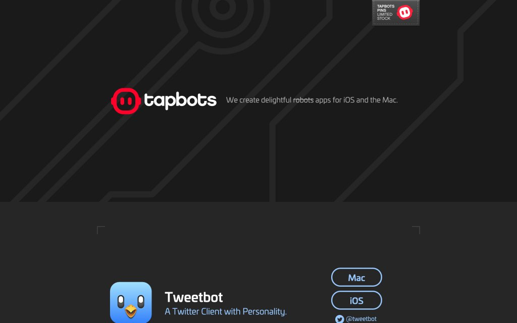 Screenshot of the website Tapbots