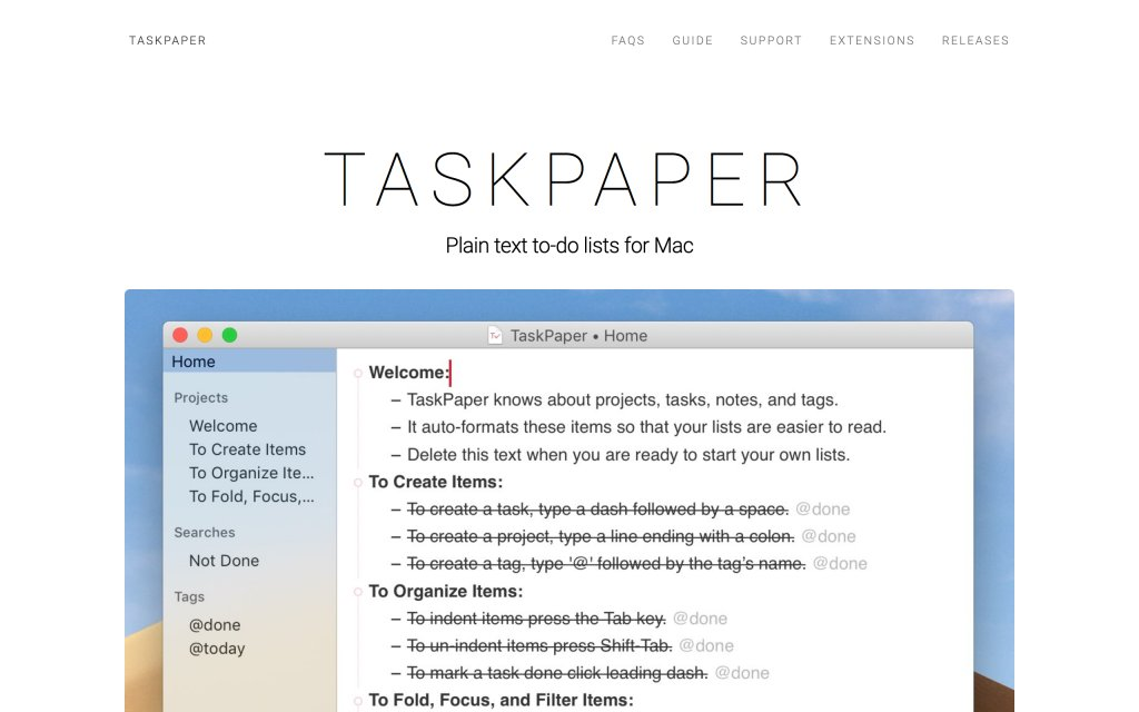 Screenshot of the website TaskPaper