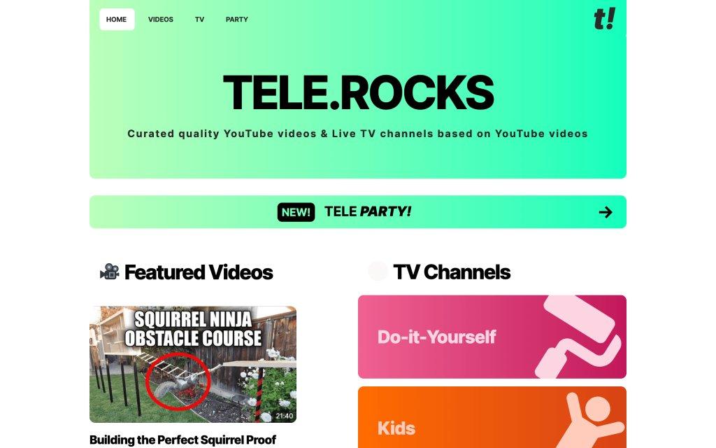 Screenshot of the website TELE.ROCKS