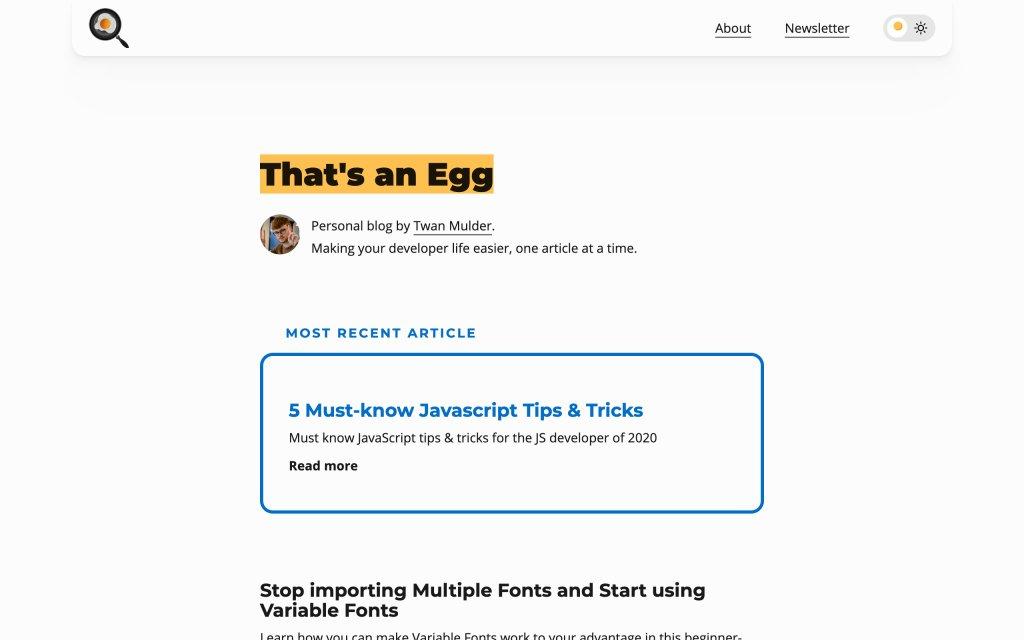 Screenshot of the website That's an Egg