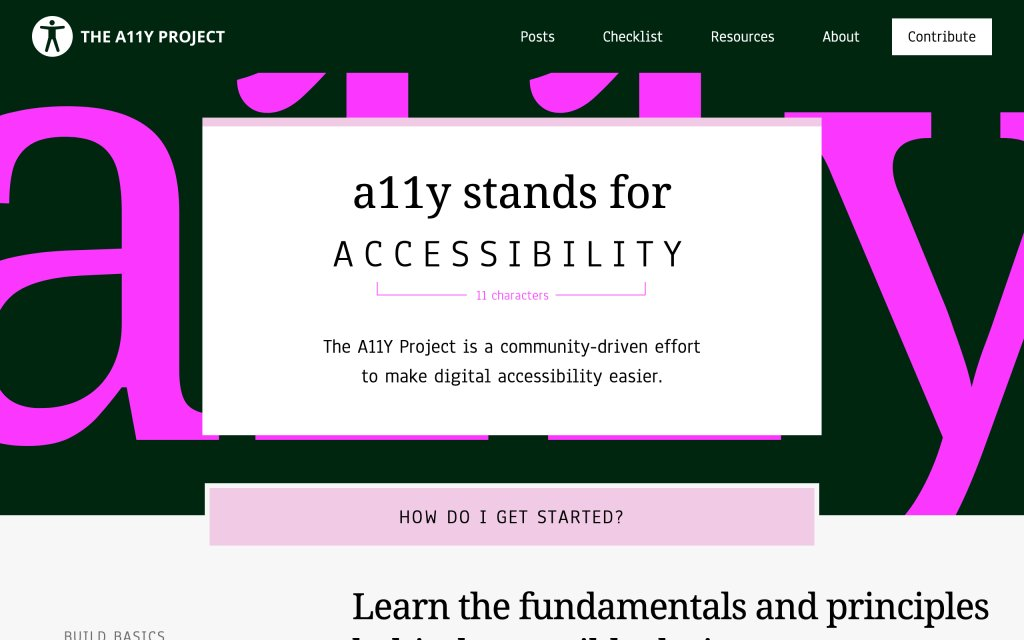 Screenshot of the website The A11Y Project
