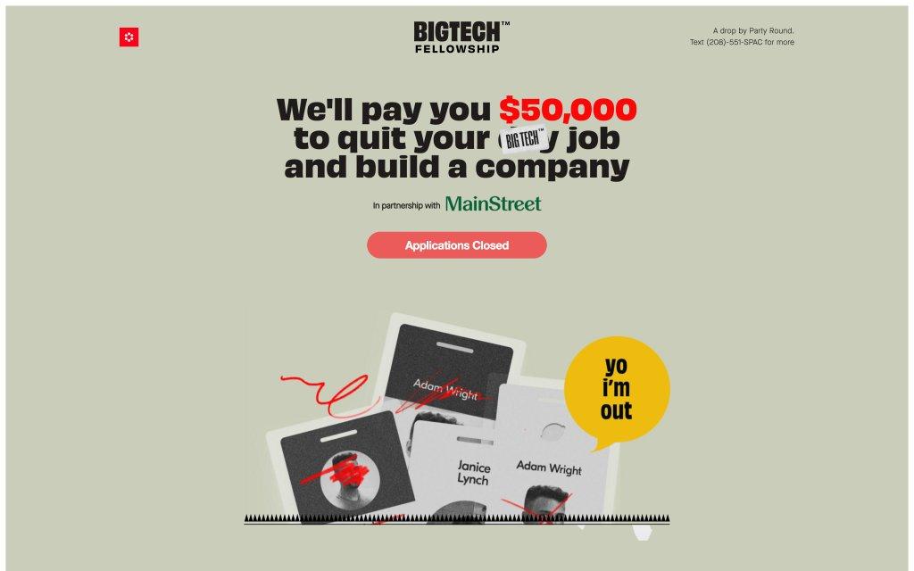 Screenshot of the website The BIGTECH Fellowship