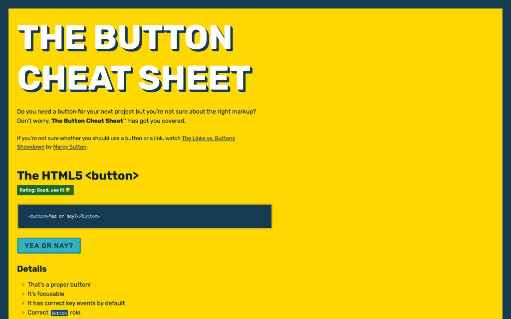 Screenshot of the website The Button Cheat Sheet