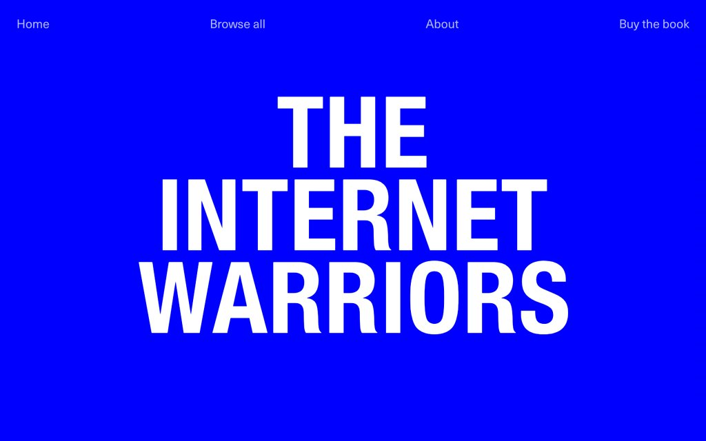 Screenshot of the website The Internet Warriors