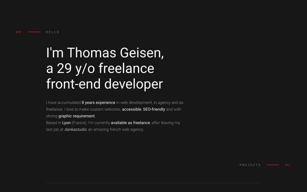 Screenshot of the website Thomas Geisen