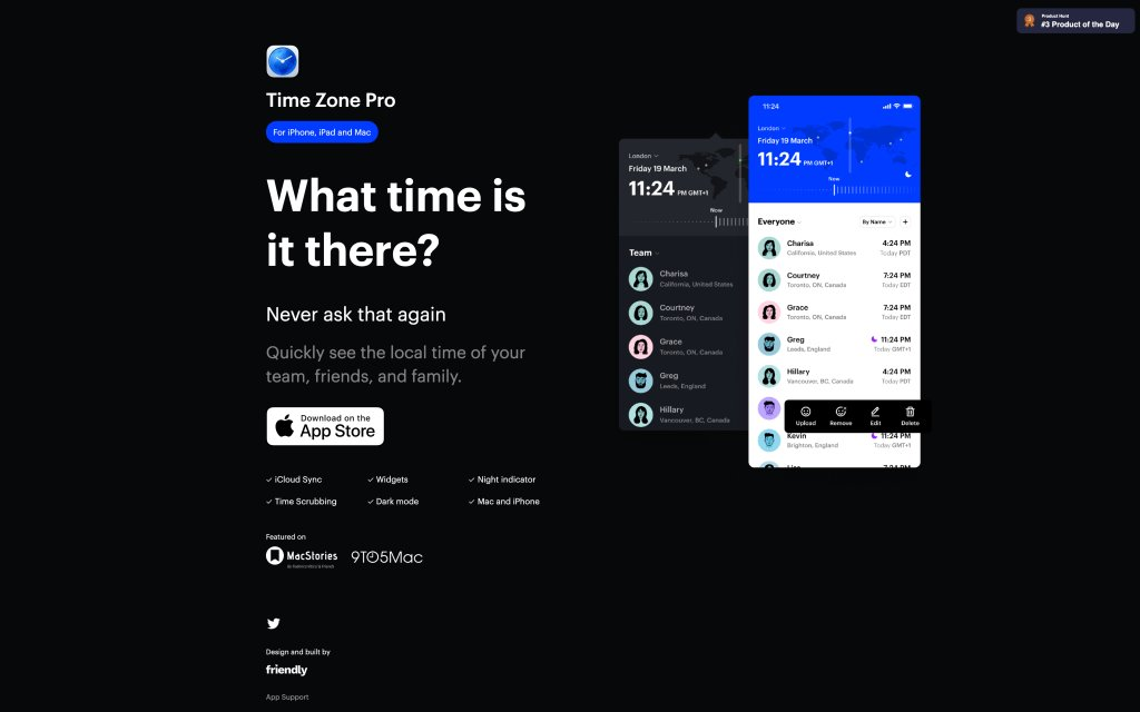 Screenshot of the website TIme Zone Pro