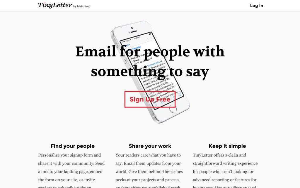 Screenshot of the website TinyLetter