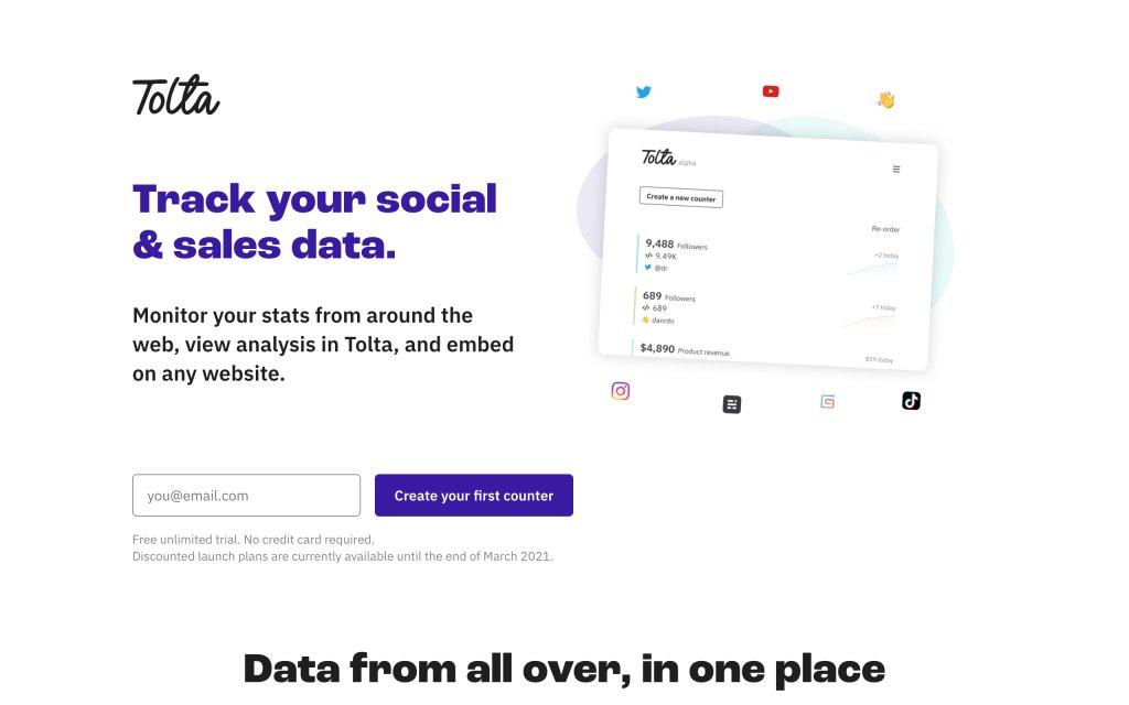 Screenshot of the website Tolta