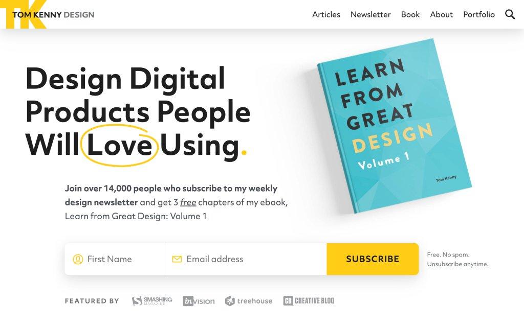 Screenshot of the website Tom Kenny Design