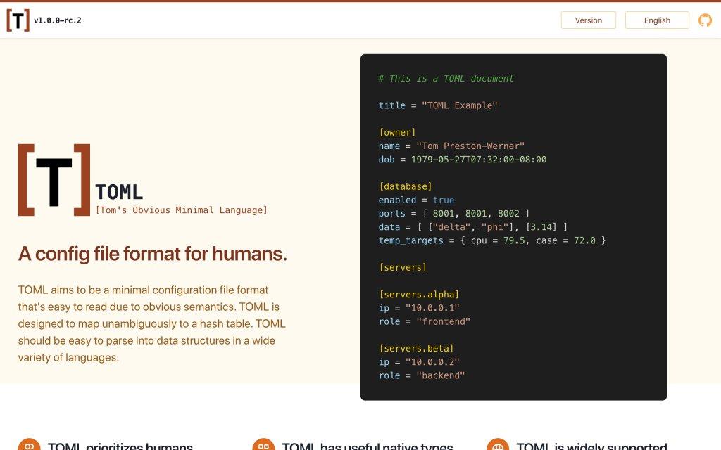 Screenshot of the website TOML