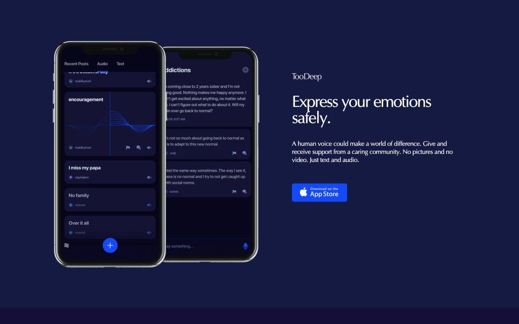 Screenshot of the website TooDeep