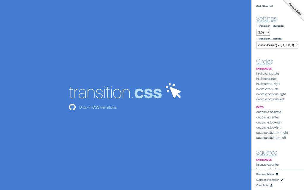 Screenshot of the website Transition.css