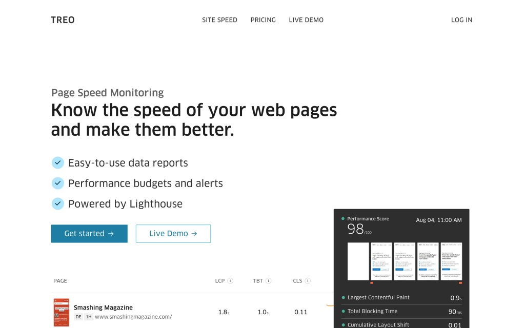 Screenshot of the website Treo: Page Speed Monitoring