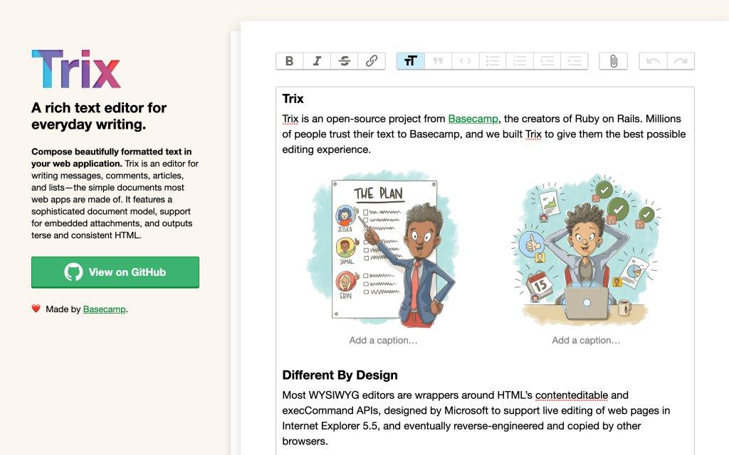 Screenshot of the website Trix Editor