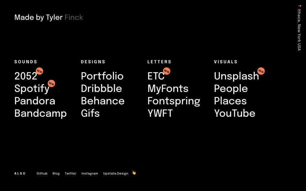 Screenshot of the website Tyler Finck
