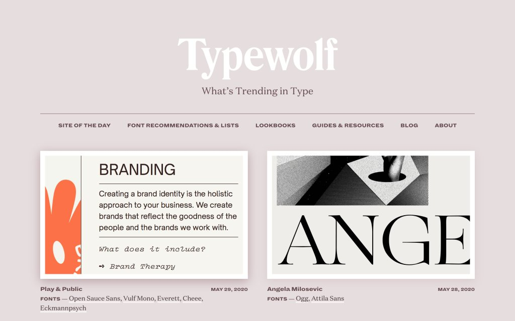 Screenshot of the website Typewolf