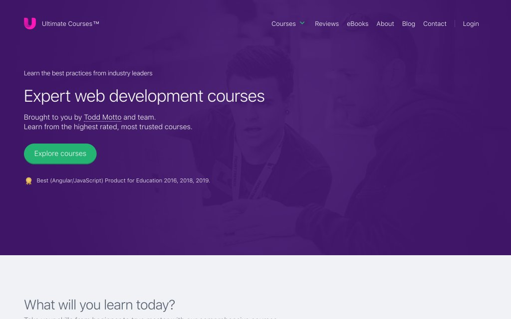 Screenshot of the website Ultimate Courses