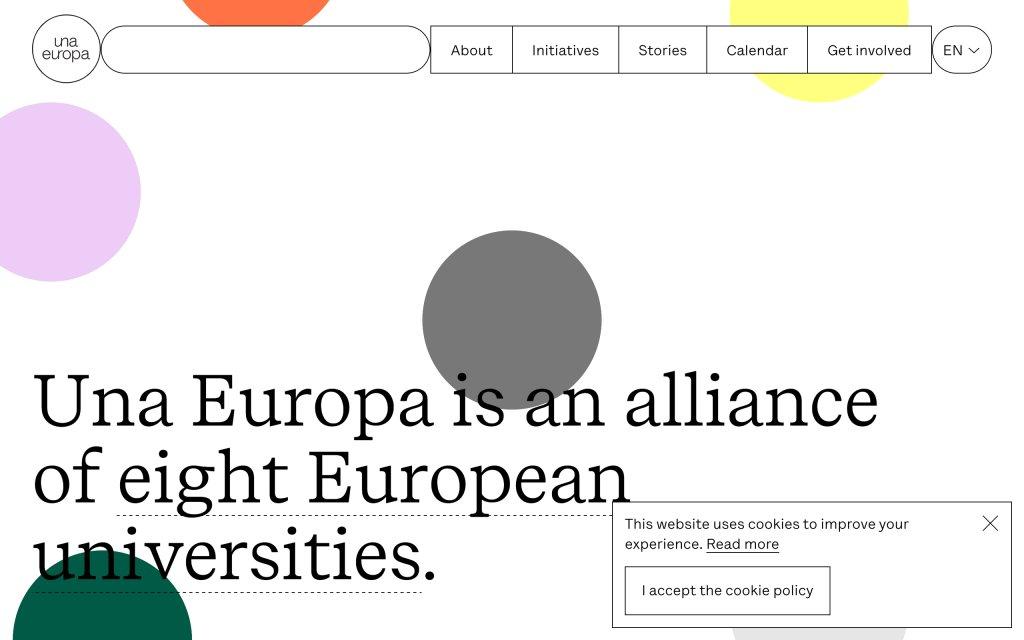 Screenshot of the website Una Europa