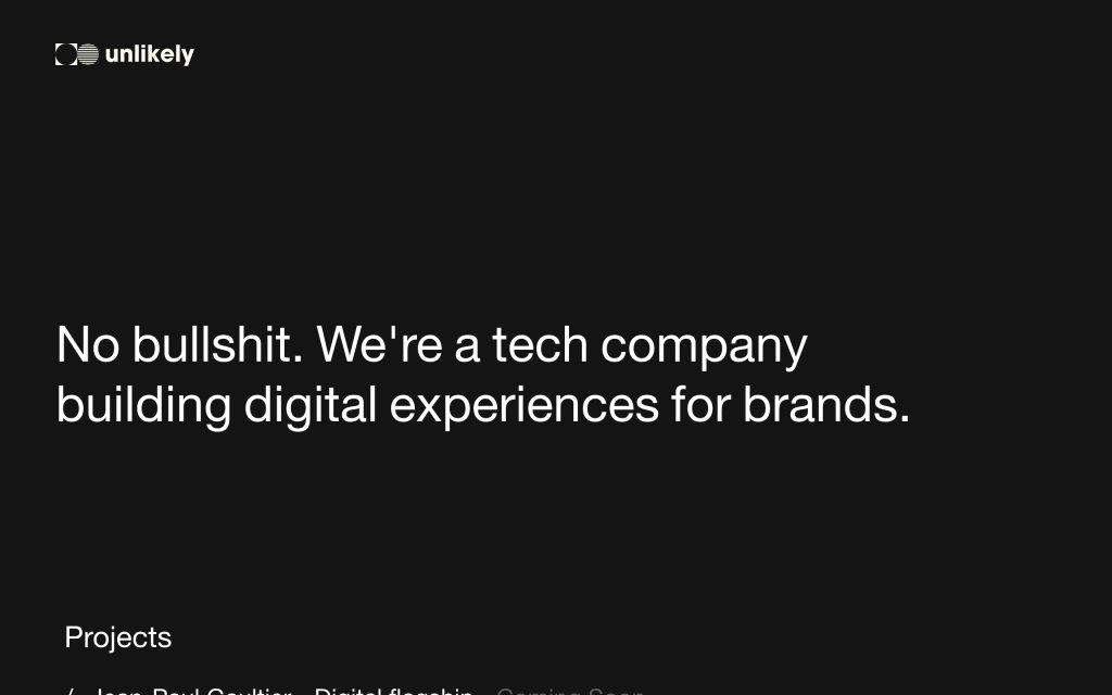 Screenshot of the website Unlikely
