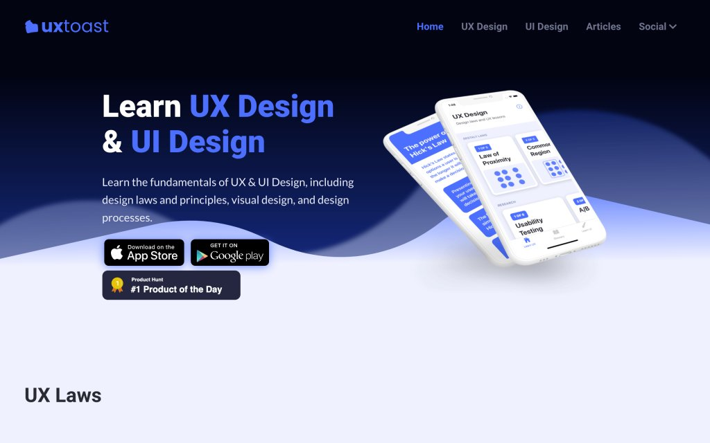 Screenshot of the website uxtoast