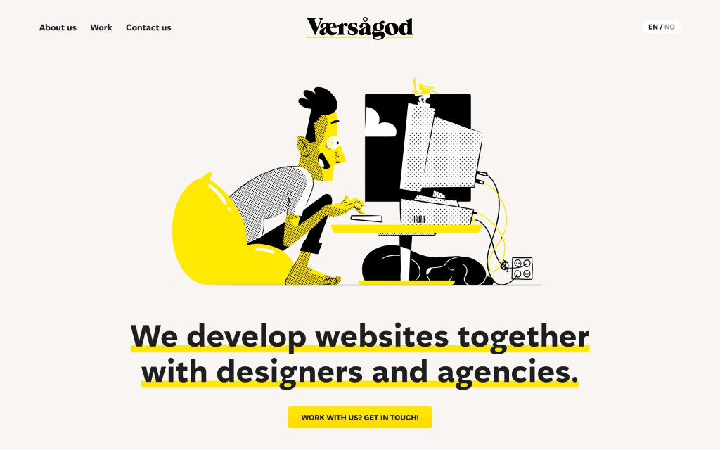 Screenshot of the website Værsågod
