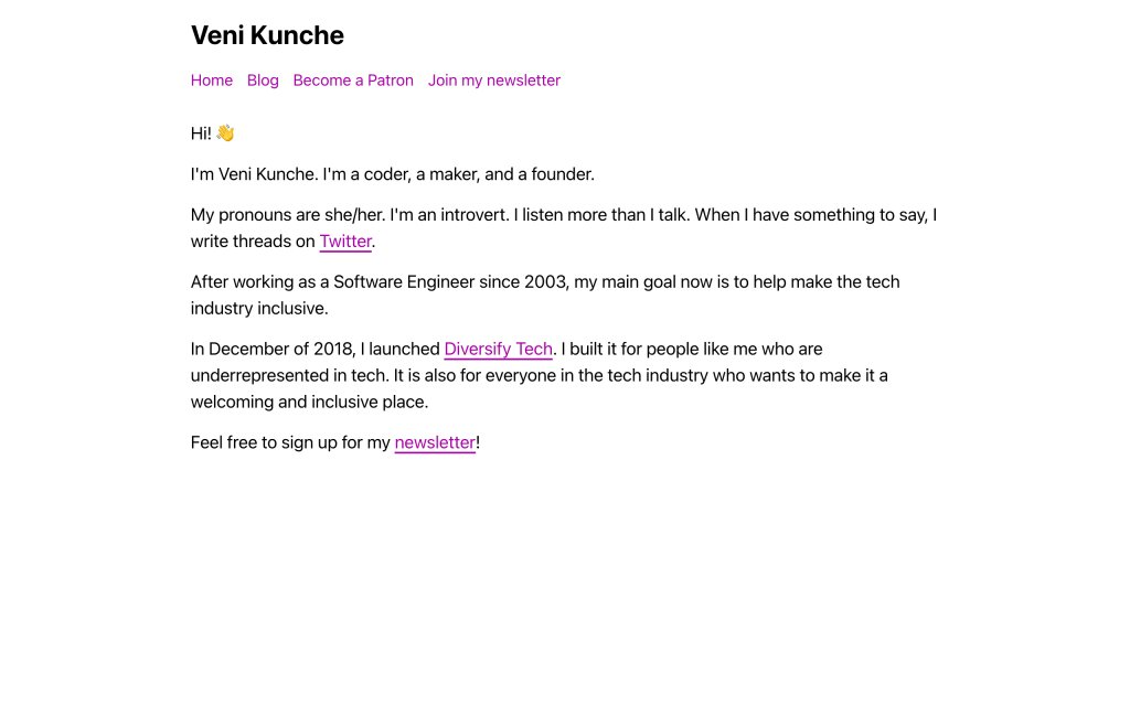 Screenshot of the website Veni Kunche