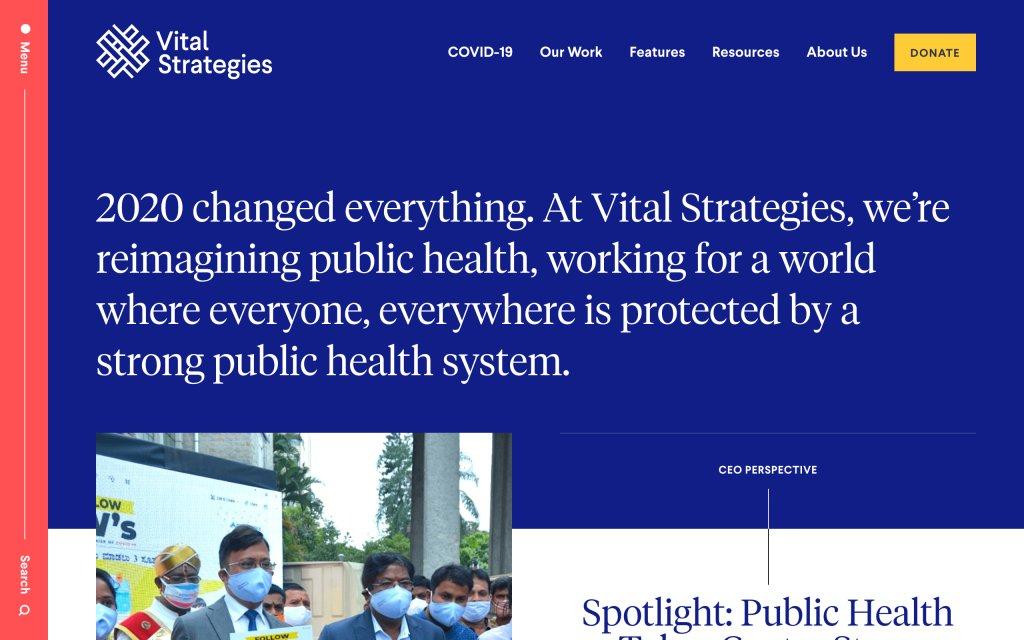 Screenshot of the website Vital Strategies