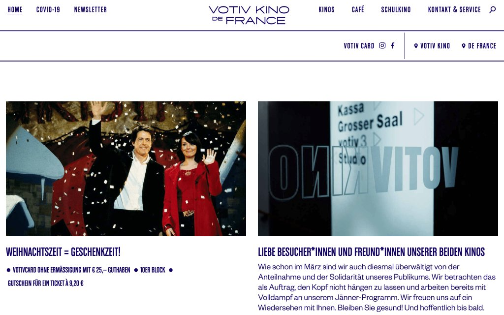 Screenshot of the website Votiv Kino De France