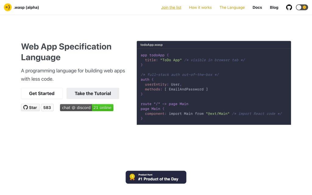 Screenshot of the website Wasp Lang