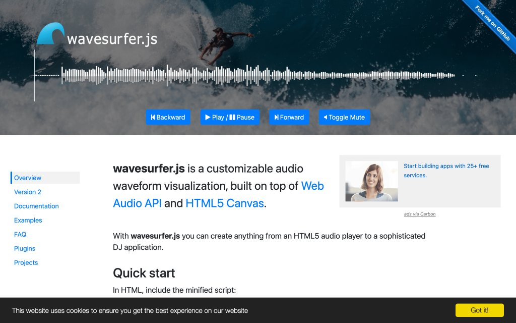 Screenshot of the website wavesurfer.js