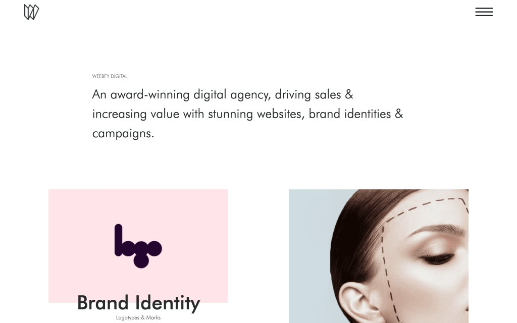 Screenshot of the website Weebfy