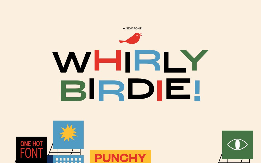 Screenshot of the website Whirly Birdie Variable Font