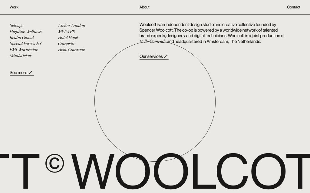 Screenshot of the website Woolcott