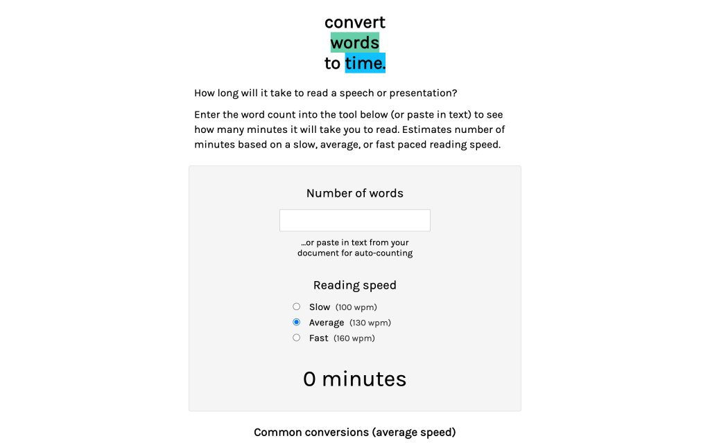 Screenshot of the website Words to Time