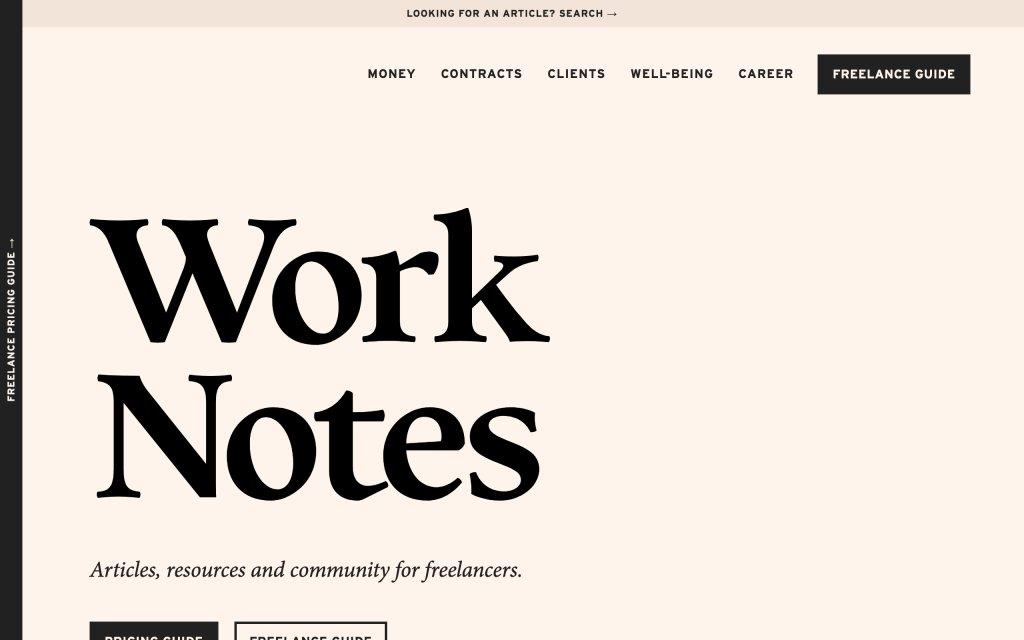 Screenshot of the website Work Notes