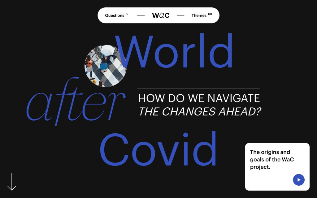 Screenshot of the website World After Covid