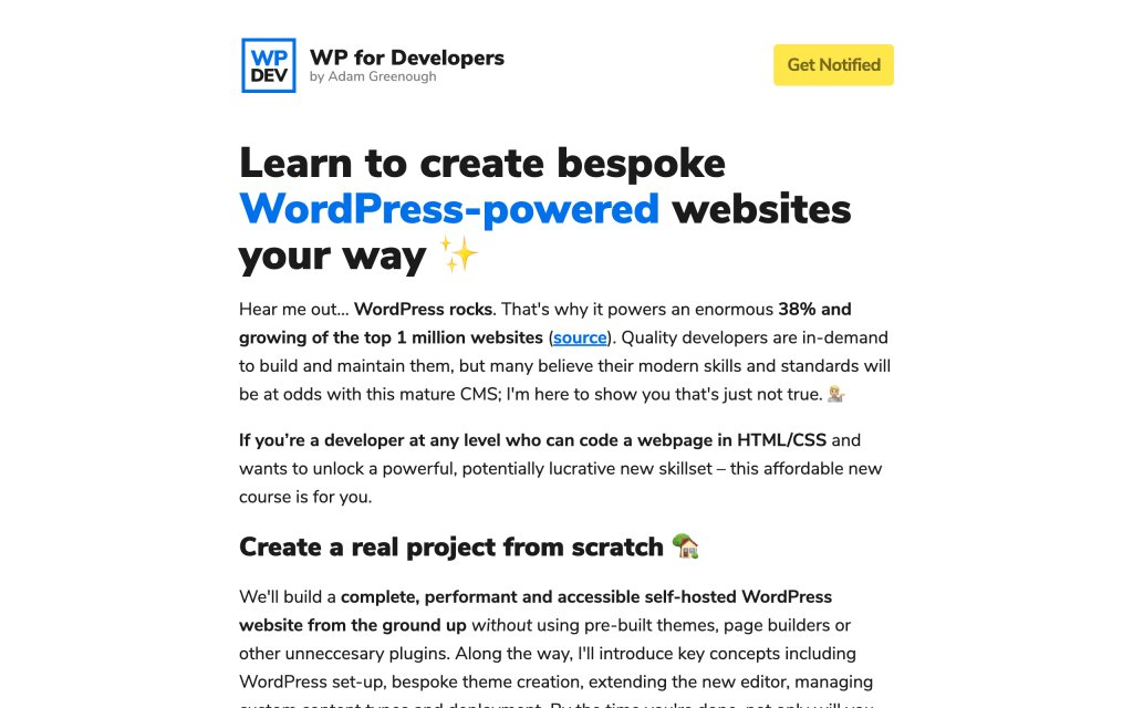Screenshot of the website WP for Developers