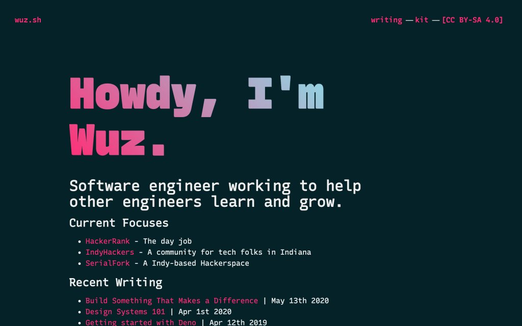 Screenshot of the website Wuz