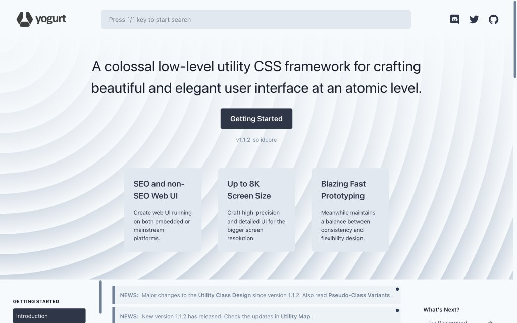 Screenshot of the website Yogurt CSS