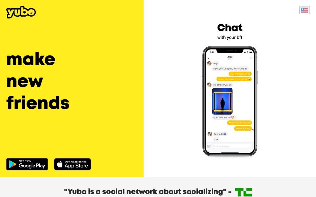 Screenshot of the website Yubo