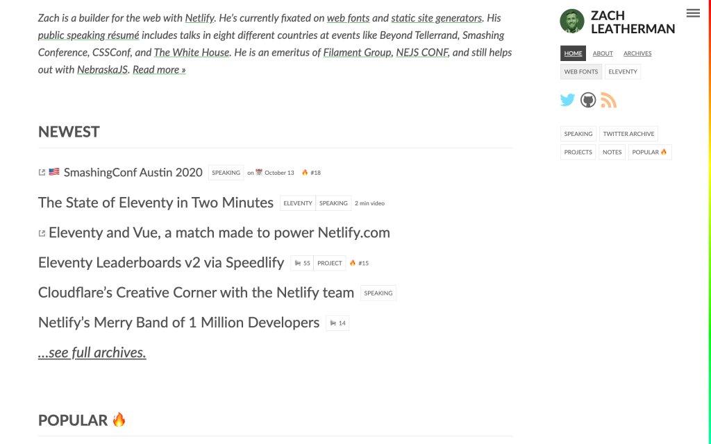 Screenshot of the website Zach Leat